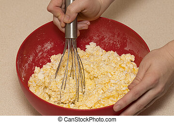 Mixing Batter or dough for cake or muffin or pancake...