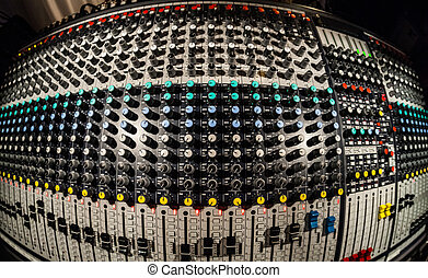 Mixing Board in a recording studio _ Logos Removed