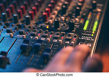 Mixing board at a concert