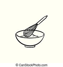 Mixing bowl with wire whisk hand drawn sketch icon