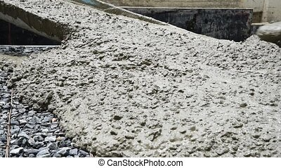 Mixing cement concrete at construction site - Mixing and...