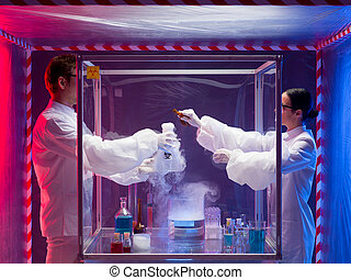 mixing chemicals in a sealed enclosure