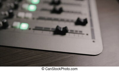 Mixing console also called audio mixer, sound board, mixing...