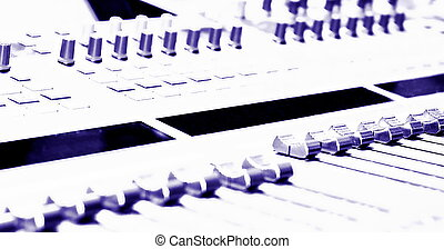 Mixing Console - high key - filtered to a blue purple ...