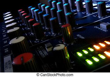 Mixing console in dark. Element of design.