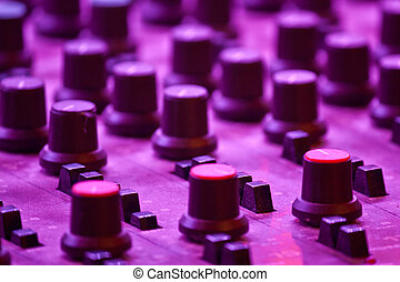 Mixing Table and channels with Purple Lighting