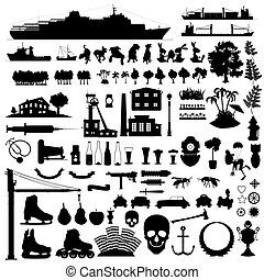 mixture ninety vector silhouettes - mixture ninety...