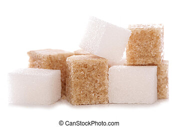 Mixture of brown and white sugar cubes studio cutout
