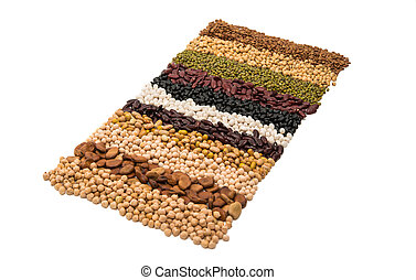 Mixture of dried lentils, peas, soybeans, beans