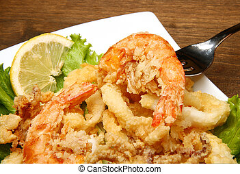 fried fish  - mixture of fried fish