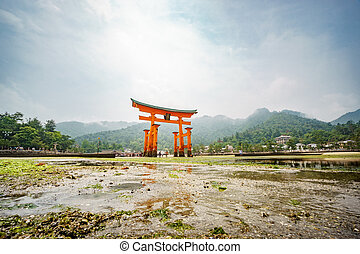miyajima, ansicht unten, langer, torii, niedrig, schwimmend, aussetzung, japan., tor, tide