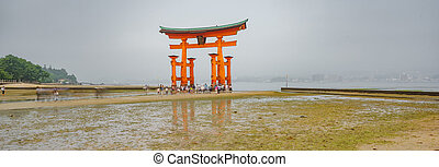 miyajima, panoramisch, torii, niedrigwasser, tor, schwimmend, ansicht