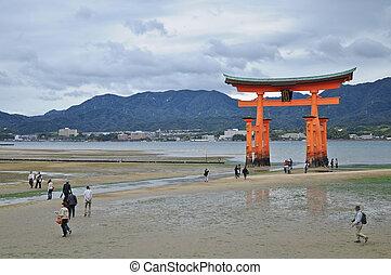 miyajima, sand, heilig, tor, japan, hiroshima, rotes