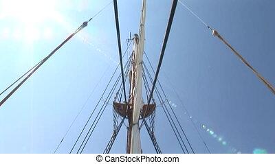 Mizzenmast and poop deck of sailing - Mizzenmast and poop...