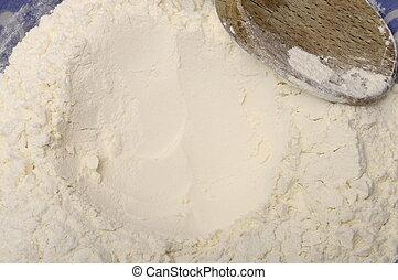 mjöl, in, a, bunke, klar, för, matlagning, och, träsked