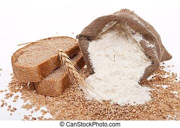 mjöl, och, vete säd, med, bread