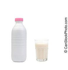 mjölk flaska, med, a, fyllda, glas