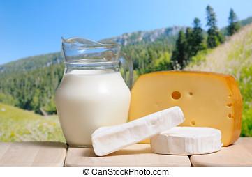 mjölk krus, och ost