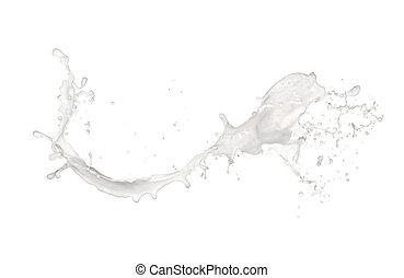 mjölk, plaska, isolerat, vita, bakgrund
