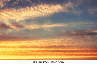 mjuk, blåttsky, och, solnedgång, moln