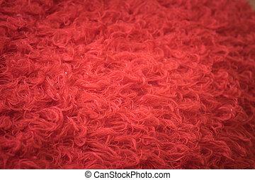 mjuk, röd, pälsfodra, bakgrund, struktur, för, möblemang, material
