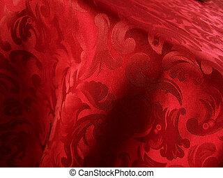 mjuk, röd, tyg