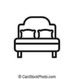 mjuk, säng, komfortabel, madrass, lyxvara, kuddar, linjär, tyg formge