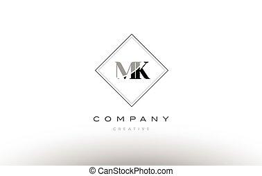 Mk M K White Letter Logo Design With Black Background Mk M K White