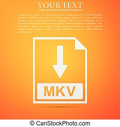 MKV file document icon. Download MKV button icon isolated on orange background. Flat design. Vector Illustration