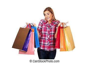 mládě, úsměv eny, majetek, shopping ztopit