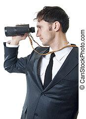 mládě, člověk obchodního ducha, binoculars