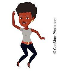 mládě, afričan- američanka eny, jumping.