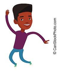 mládě, afričan- američanka voják, jumping.