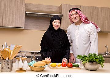 mládě, arab, rodina, od kuchyně