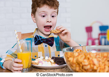 mládě, cukroví, a, hustě food, milenec