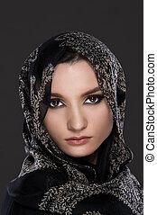 mládě, muslim, eny portrét, nosení, jeden, bránit úkos