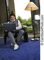 mládě, obchodník, pracovní oproti, počítač na klín