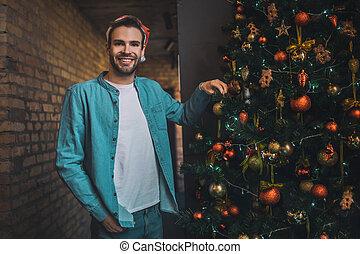 mládě, strom, radostný, vánoce, osoba zastaven