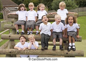 mládě, vřískot, děti, lavice, sedění