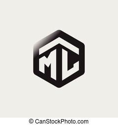 ML Initial letter hexagonal logo vector