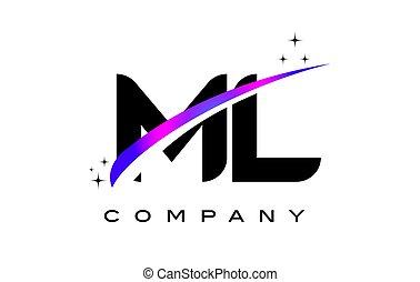 ML M L Black Letter Logo Design with Purple Magenta Swoosh...
