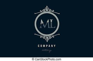 ml m l blue decorative monogram alphabet letter logo...