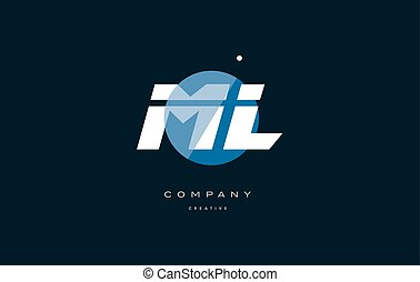 ml m l blue white circle big font alphabet company letter...
