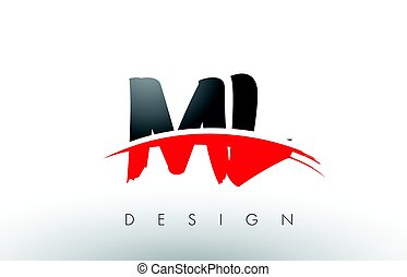 ML M L Brush Logo Letters with Red and Black Swoosh Brush...