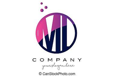 ML M L Circle Letter Logo Design with Purple Dots Bubbles -...