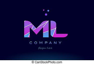 ml m l colored blue pink purple alphabet letter logo icon...