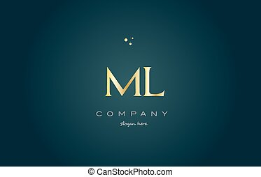 ml m l gold golden luxury alphabet letter logo icon template...