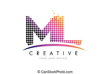 ML M L Letter Logo Design with Magenta Dots and Swoosh - ML...