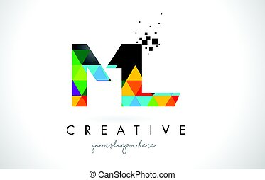 ML M L Letter Logo with Colorful Triangles Texture Design...