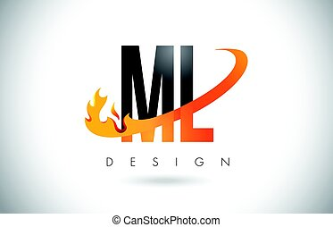 ML M L Letter Logo with Fire Flames Design and Orange...